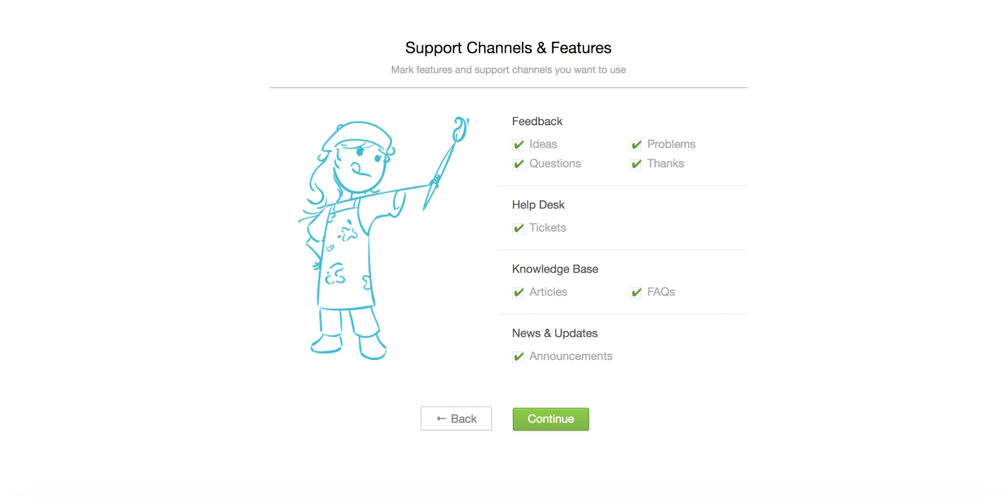 UseResponse support channel & features view