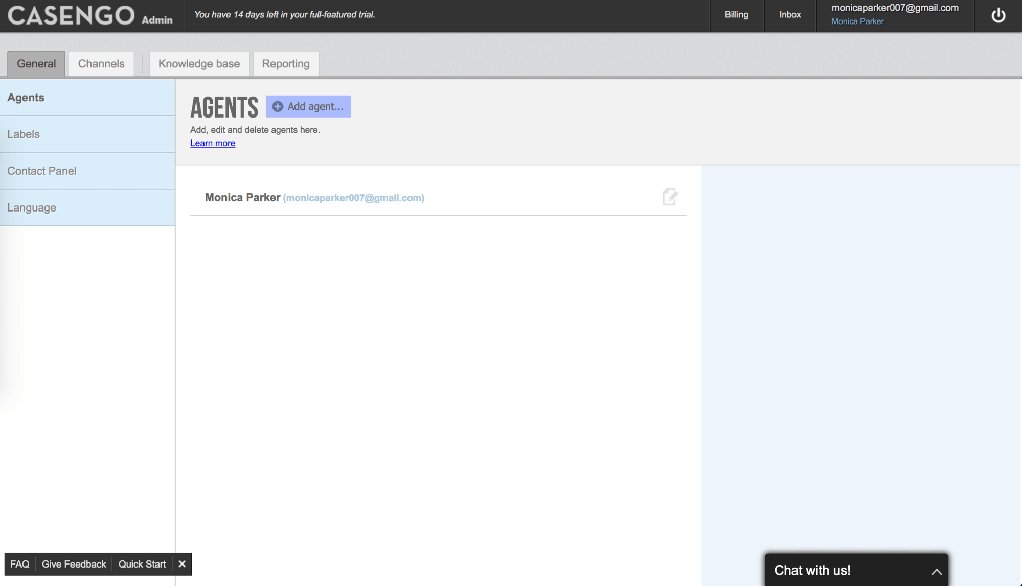 Casengo admin panel – agent's settings