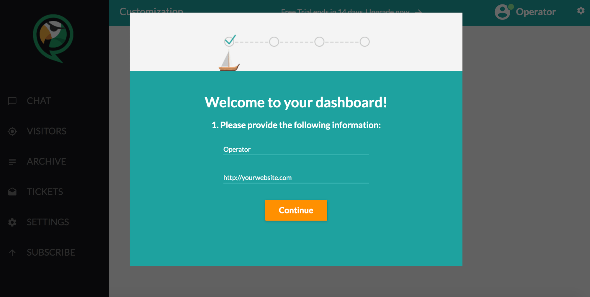 ChatPirate - 1st step of onboarding - installation