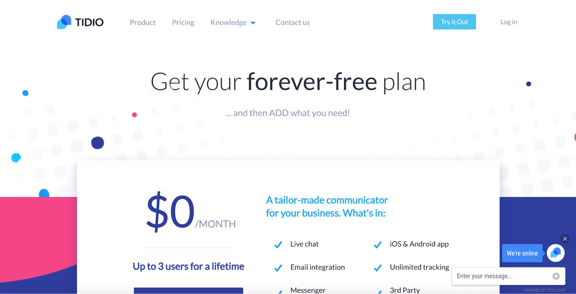 Tidio pricing and plans